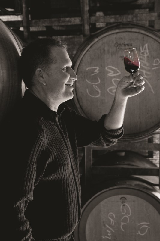 Greg with red wine - Greg Cooley Wines